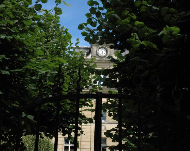 View of the clock from the garden